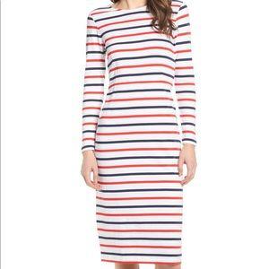 J. CREW Stripe Long Sleeve Cotton Dress